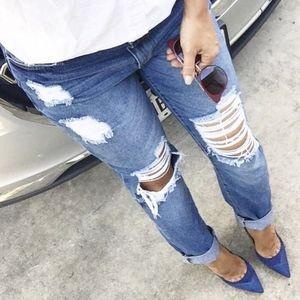 JustFab Blue Distressed Denim Boyfriend Jeans